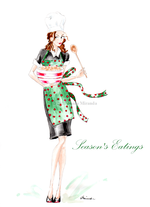 Whimsical fashion-inspired holiday greeting card by Joana Miranda