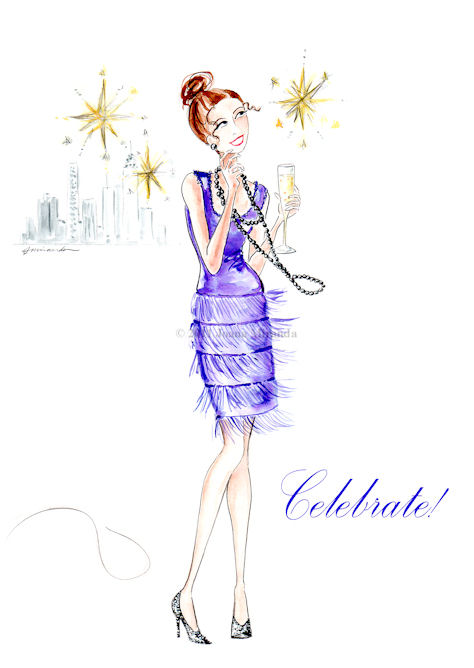 Whimsical New Year's fashionista illustration by Joana Miranda