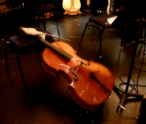 Photo of cello in orchestra pit, taken by Joana Miranda