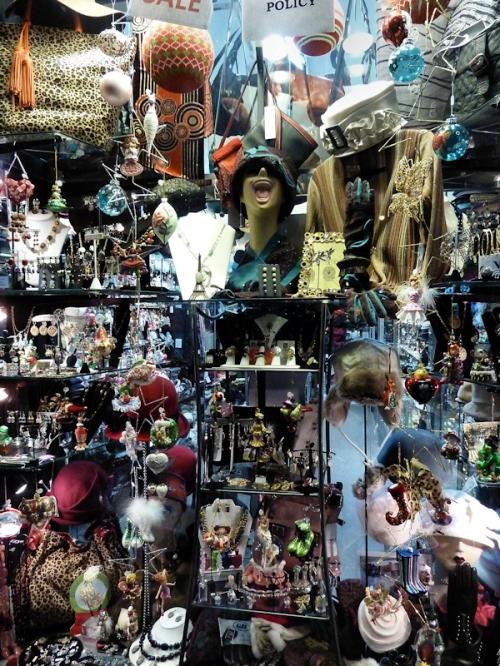 Photo of crazy accessory store window on Broadway, taken by Joana Miranda