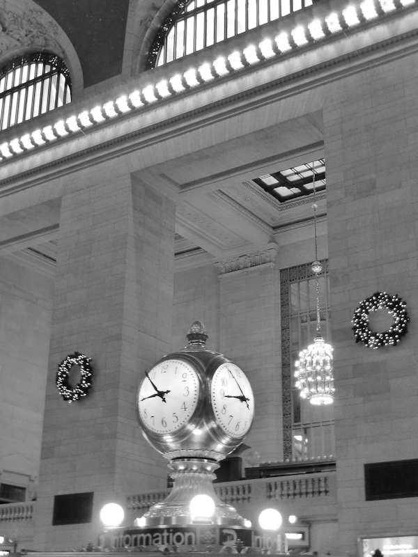 Black and white photo of clock in Grand Central Station taken by Joana    Grand Central Station Clock Black And White