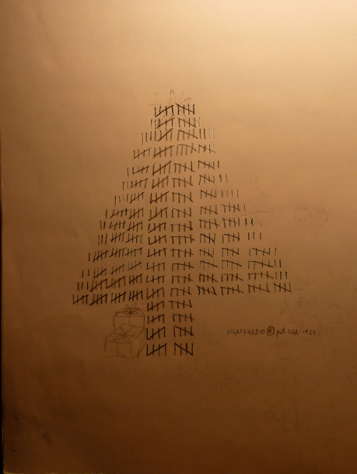 Photo of Christmas tree made out of hatch marks, taken by Joana Miranda