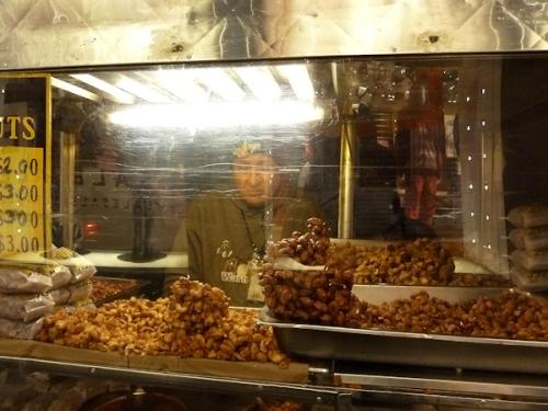 Photo of hot sugared nut stand in Manhattan, taken by Joana Miranda