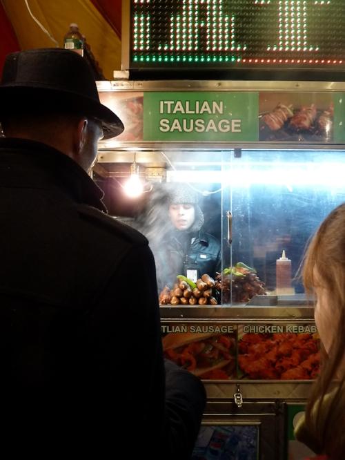 Photo of Italian sausage food stand in Midtown, taken by Joana Miranda