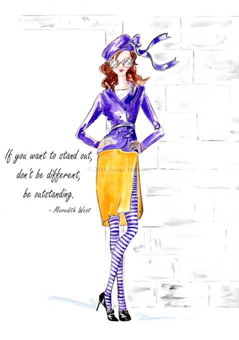 "Whimsical fashionista ""Josephine Takes a Stand"" illustration by Joana Miranda"