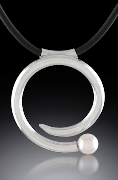 Photo of Akoya Pearl Swirl pendant in Argentium Sterling Silver by Joana Miranda