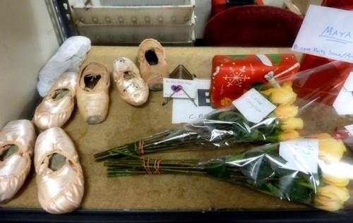 Photo of signed toe shoes backstage at the David Koch Theater, taken by Joana Miranda