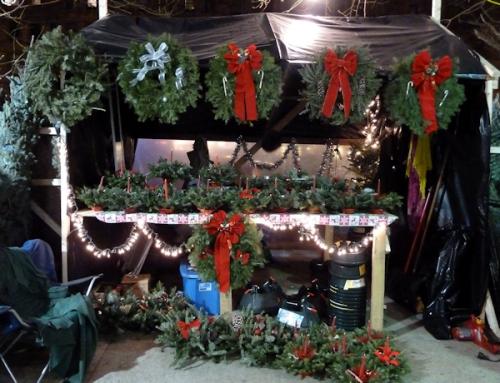 Photo of festive wreath stand in Upper West Side, taken by Joana Miranda