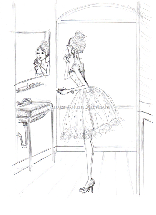Josephine Puts on Perfume - Whimsical Sketch by Joana Miranda