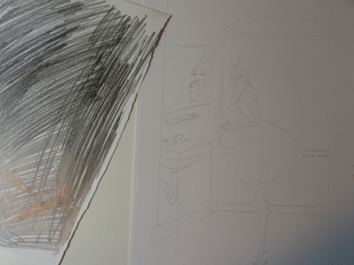 Photo of transfer process for Josephine illustration, by Joana Miranda