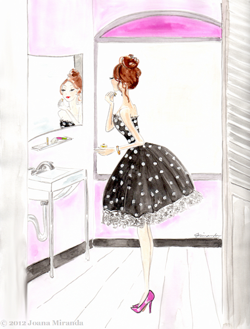 Josephine is Perfumed, whimsical gouache illustration by Joana Miranda