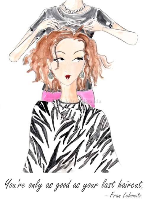 "Whimsical watercolor illustration ""The Haircut"" by Joana Miranda"