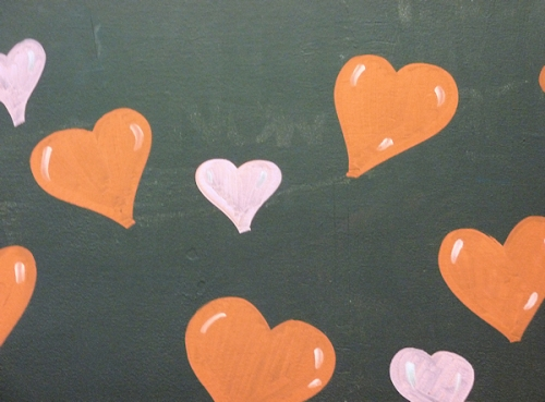 Photo of hearts on blackboard at Whole Foods, taken by Joana Miranda