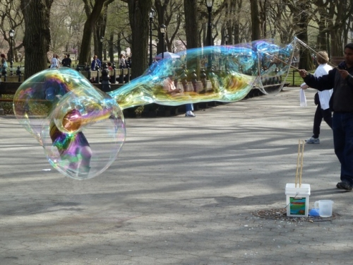 Joana disappears into the bubble, photo taken by Tom Cathey