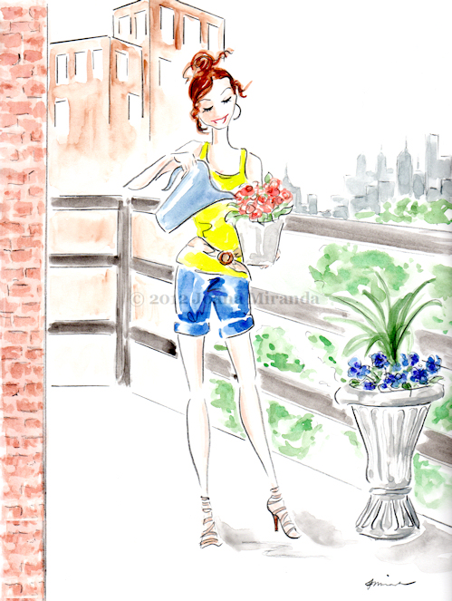 "Whimsical ""Josephine, the Urban Gardener"" illustration by Joana Miranda"