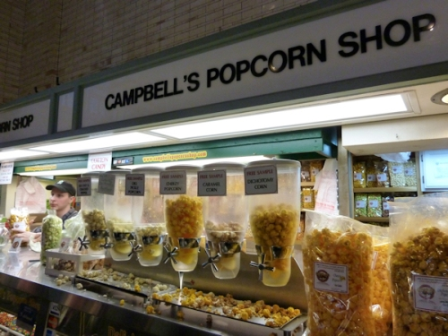 Photo of Campbell's Popcorn shop at West Side Market, taken by Joana Miranda
