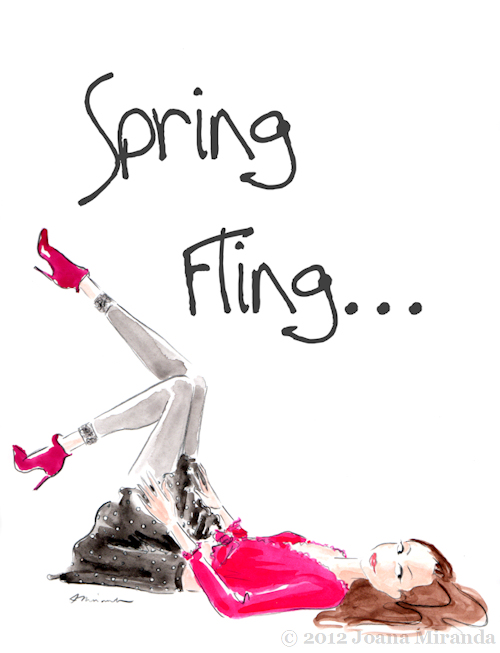 "Whimsical ""Spring Fling"" illustration by Joana Miranda"