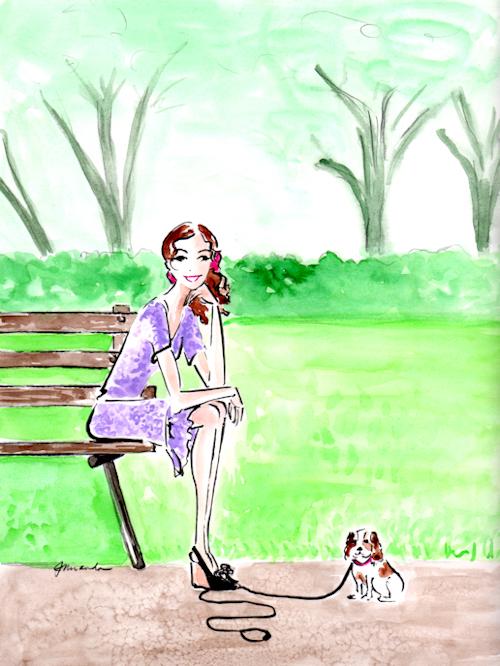 "Whimsical watercolor illustration ""Companions"" by Joana Miranda"