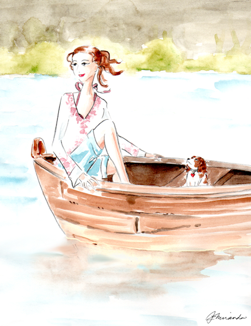 "Whimsical Illustration ""Josephine and Andre on the Water"" by Joana Miranda"