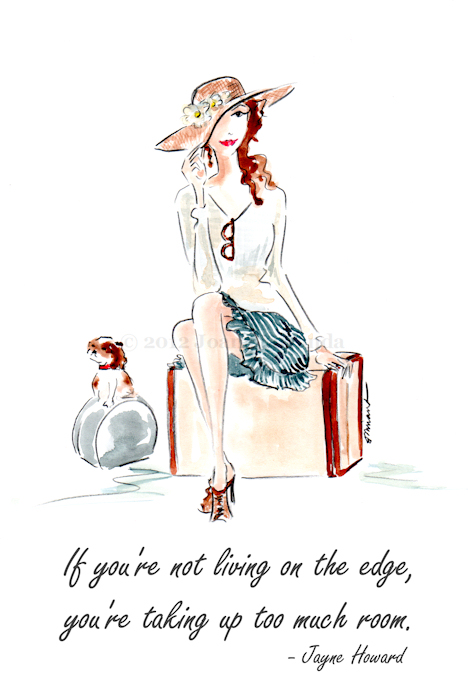 "Whimsical illustration ""Life on the Edge"" by Joana Miranda"