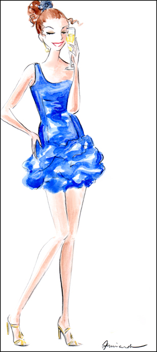 "Whimsical fashionista illustration ""Champagne Giggles"" by Joana Miranda"
