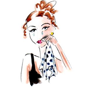 Whimsical illustration of young woman crying by Joana Miranda