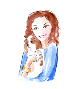 Whimsical illustration of Josephine hugging her little dog Andre, by Joana Miranda