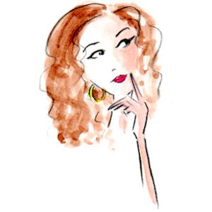 Whimsical illustration of thoughtful woman, by Joana Miranda