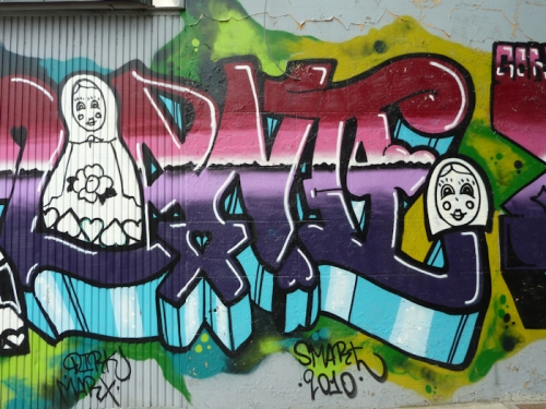 "Photo of Russian themed ""Baboushka"" graffiti on wall in Brooklyn, taken by Joana Miranda"