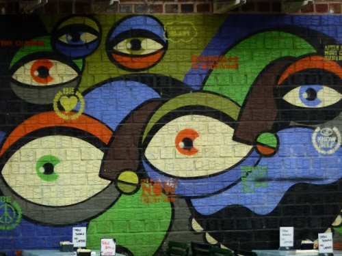 "Photo of graffiti with ""eyeballs"" seen in Williamsburg, Brooklyn; photo by Joana Miranda"
