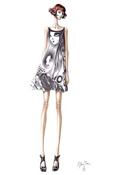 Girl in black and white mini dress by Arturo Elena