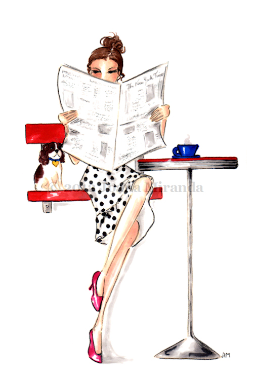 "Whimsical marker and colored pencil illustration ""In the News"" by Joana Miranda"