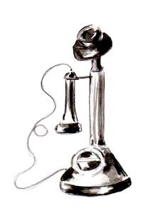 Whimsical illustration of black old-fashioned phone, by Joana Miranda