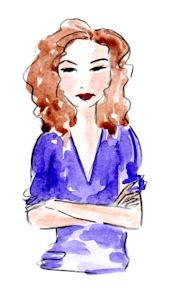 Whimsical illustration of girl pouting, by Joana Miranda
