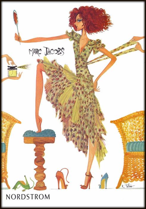 Whimsical illustration for Nordstrom by Ruben Toledo