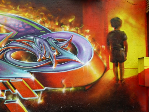 "Photo of ""infernal"" graffiti art in Brooklyn, NY, taken by Joana Miranda"
