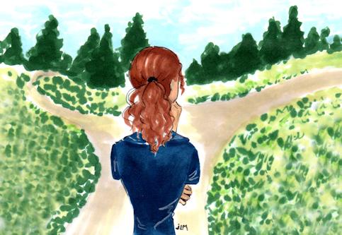 "Marker and ink illustration ""At a Crossroads"" by Joana Miranda"