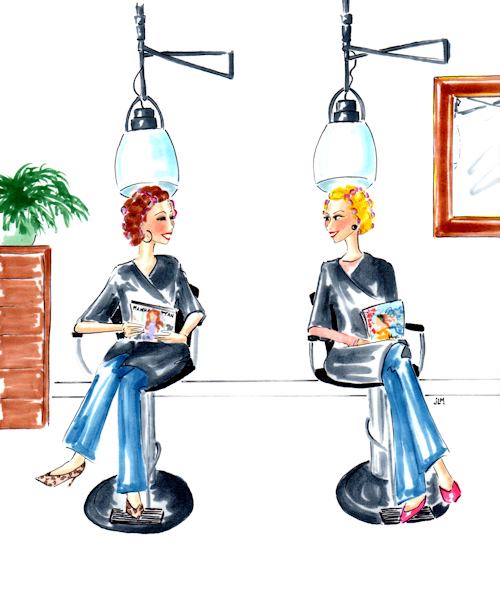 "Whimsical marker and ink illustration ""At the Salon"" by Joana Miranda"