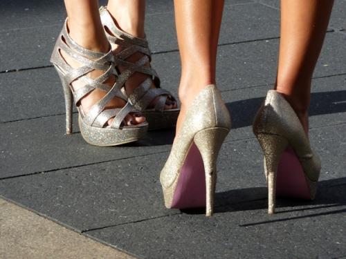 Photo of two pairs of sparkly platform heels as seen at 2012 Mercedes Benz Fashion Week - taken by Joana Miranda