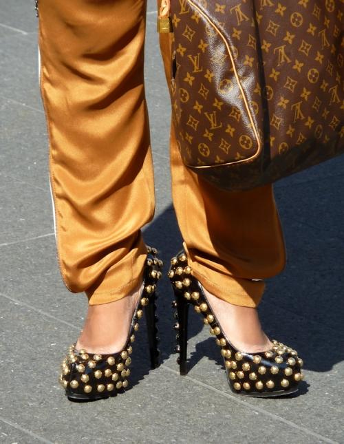 Photo of gold studded black high heels as seen at 2012 Mercedes Benz Fashion Week - taken by Joana Miranda