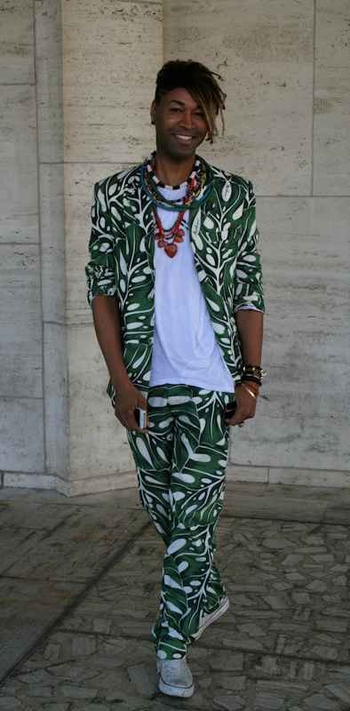 Photo of young black man wearing leaf print suit at 2012 Mercedes Benz Fashion Week - taken by Joana Miranda
