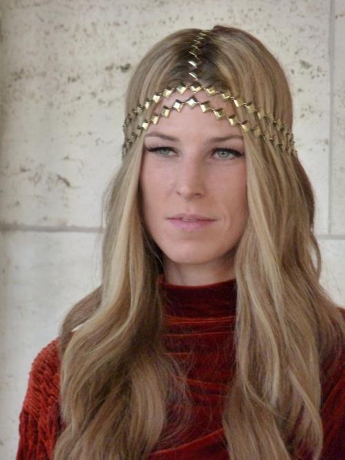 Photo of woman with Medieval style headdress seen at 2012 Mercedes Benz Fashion Week - taken by Joana Miranda