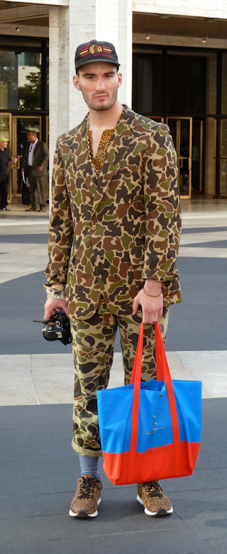 Camouflage suit paired with leopard print sneakers, as seen at 2012 Mercedes Benz Fashion Week - taken by Joana Miranda