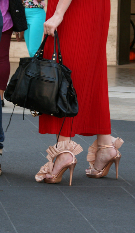 Photo of beige ruffled sandals seen at 2012 Mercedes Benz Fashion Week - taken by Joana Miranda