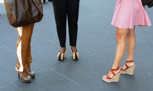 Photo of 3 pairs of glamorous platform heels seen at 2012 Mercedes Benz Fashion Week - taken by Joana Miranda
