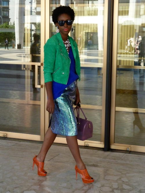 Photo of young well-dressed African American woman seen at 2012 Mercedes Benz Fashion Week, taken by Joana Miranda