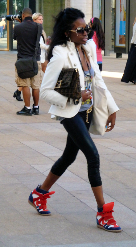 Photo of black and red wedge sneakers seen at 2012 Mercedes Benz Fashion Week - taken by Joana Miranda