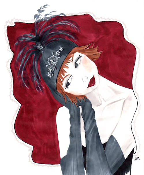 "Marker and ink illustration ""The Flapper"" by Joana Miranda"