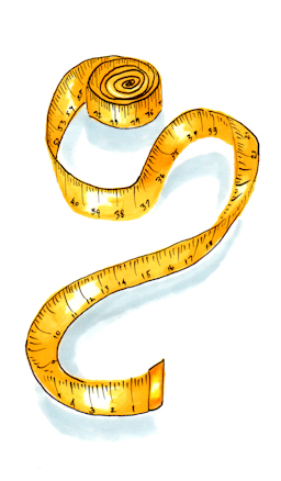 Marker and ink illustration of measuring tape, by Joana Miranda