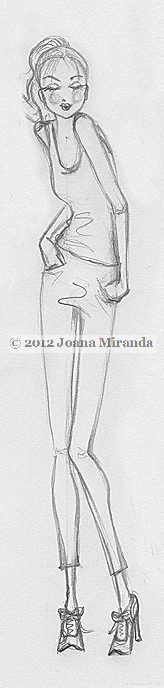 "Whimsical pencil sketch ""XOX"" by Joana Miranda"